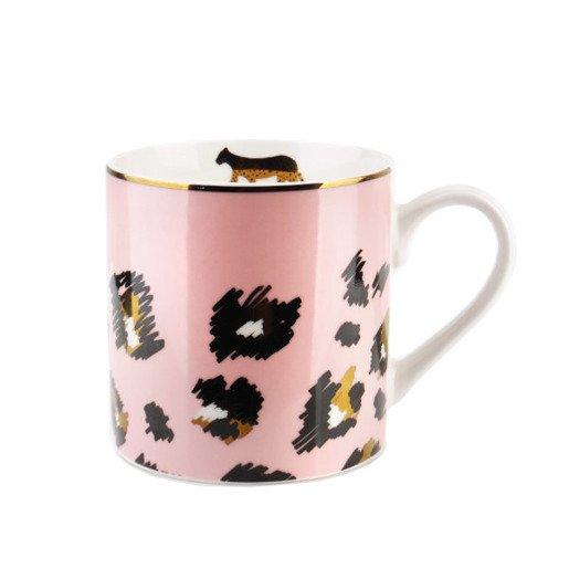 Kubek do kawy różowy w cętki 400 ml
