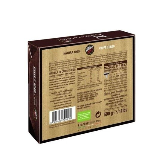 Vergnano Natura 100%  2 x 250 g - mieszanka kawy naturalne i zbożowej