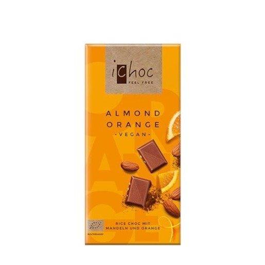 iChoc - Almond Orange Vegan 80g czekolada z migdałami i kawałkami pomarańczy