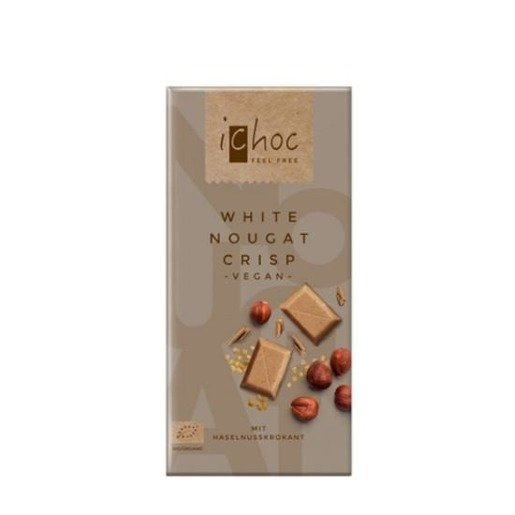 iChoc - White Nougat Crisp Vegan 80g czekolada biała nugatowa z orzechami laskowymi